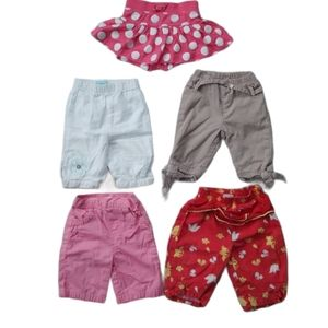 Lot of 5 Baby Girl's Shorts/Skorts, Mixed Brands